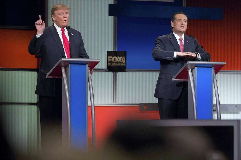 "During the most recent Republican presidential debate, candidates Donald Trump (left) and Sen. Ted Cruz battled over whether the Texas senator is a ""natural-born"" citizen. Our readers weigh in on the issue. Photo: Andrew Harrer /Washington Post / 2016 Bloomberg Finance LP"