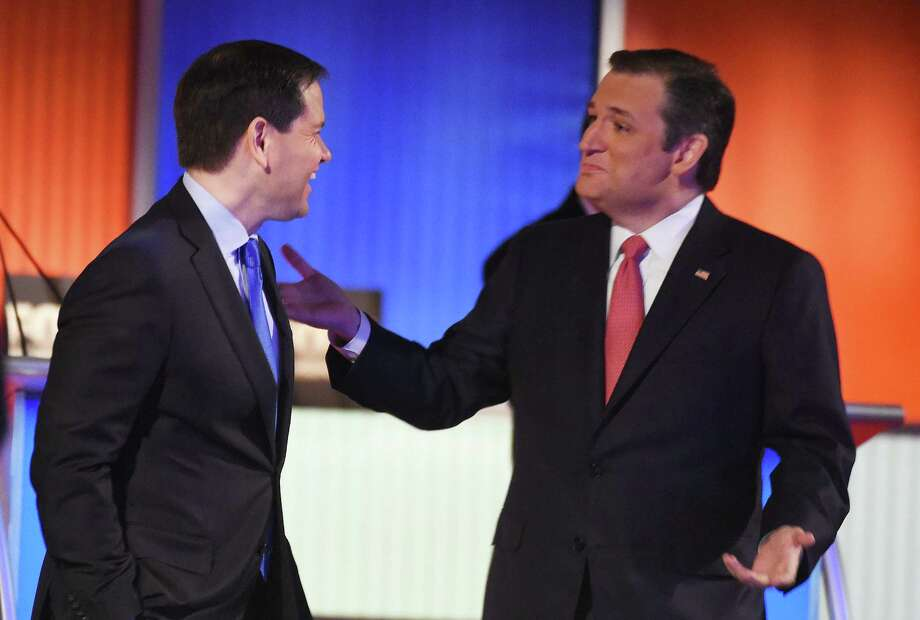 """The GOP """"establishment"""" doesn't exist. Ted Cruz is viewed as anti-establishment while Marco Rubio is cast as establishment. Yet Rubio defeated a Republican governor in his Senate primary in 2010 and is runnning against Jeb Bush, his mentor and the presumed establishment choice. Photo: Rainier Ehrhardt /Associated Press / FR155191 AP"""