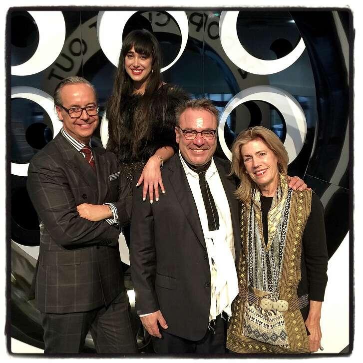 Fog Design + Art Fair masterminds (from left) interior designer Douglas Durkin, SFMOMA's Cimi Ahluwalia, event designer Stanlee Gatti and arts philanthropist Cathy Topham at the fair's opening-night. Jan 2016.