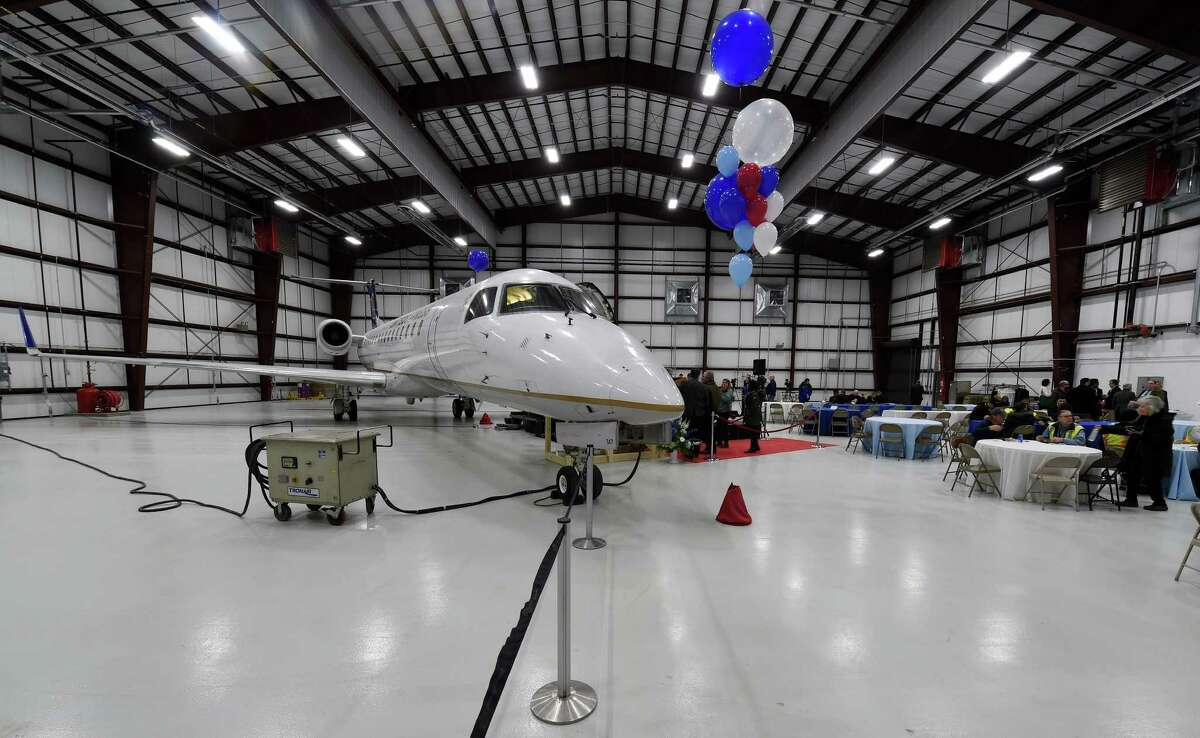 One of the new regional jets that will be part of the CommutAir's United Express connection that will be based in part at the Albany International Airport in their new maintenance facility which was unveiled Friday Jan. 22, 2016 in Colonie, N.Y. (Skip Dickstein/Times Union)