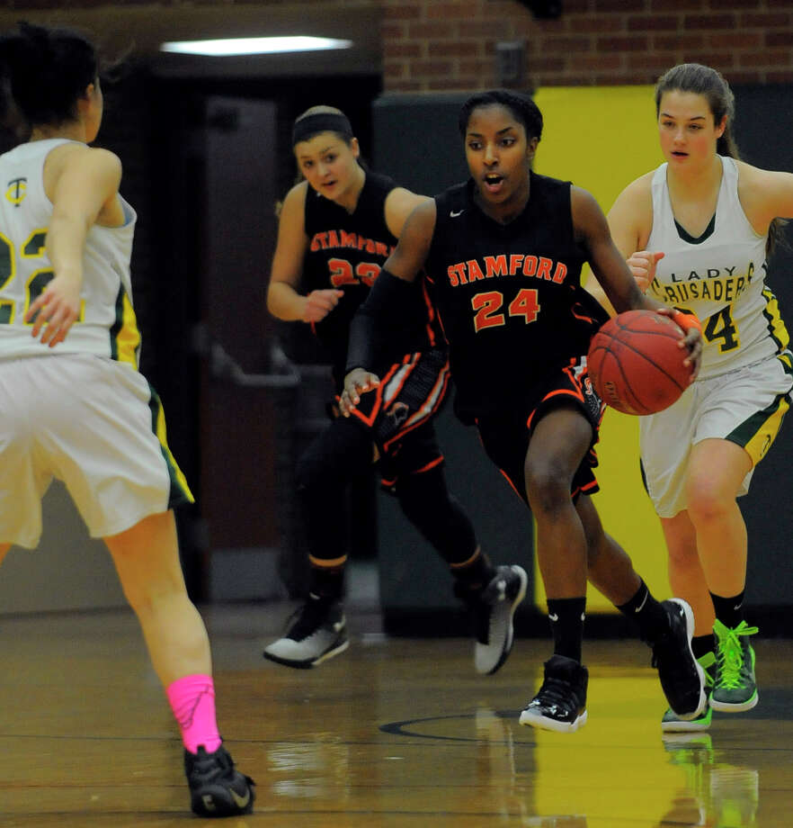 Stamford defeated Trinity 77-40 in a FCIAC girls basketball game on Friday, Jan. 22, 2016 in Stamford, Connecticut. Photo: Matthew Brown / Hearst Connecticut Media / Stamford Advocate