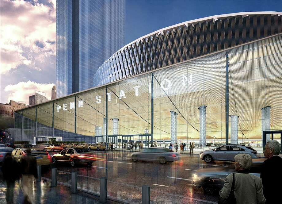 In an undated handout photo, a rendering of the proposed glassy entrance to Pennsylvania Station on Eighth Avenue, which would allow natural light onto the lower levels. New York Gov. Andrew Cuomo has championed Penn StationOs cause, but heOs passed on the really big idea: moving Madison Square Garden. (New York State Governor's Office via The New York Times) -- NO SALES; FOR EDITORIAL USE ONLY WITH NY PENN STATION BY MICHAEL KIMMELMAN FOR JAN. 13, 2016. ALL OTHER USE PROHIBITED. --  ORG XMIT: XNYT117 Photo: NEW YORK STATE GOVERNOR'S OFFICE / NEW YORK STATE GOVERNOR'S OFFICE
