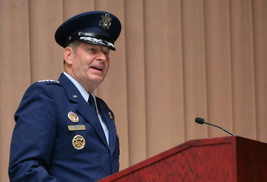 "In this July 28, 2015, image provided by the U.S. Air Force, Gen. Robin Rand speaks after taking command of Air Force Global Strike Command during a ceremony at Barksdale Air Force Base, La. Errors by three airmen troubleshooting a nuclear missile in its launch silo in 2014 triggered a ""mishap"" that damaged the missile, causing the Air Force to withdraw the airmen's nuclear certification and launch an accident investigation, officials said Friday, Jan. 22, 2016. Under the Air Force's own regulations, Accident Investigation Board reports are supposed to be made public. The Air Force did release a brief summary to The Associated Press after it sought answers about the mishap. The summary said the full report was classified by Rand, the four-star general who commands Air Force nuclear forces. (Mozer O. Da Cunha/U.S. Air Force via AP) ORG XMIT: WX119 Photo: Airman 1st Class Mozer Da Cunha / U.S. Air Force"