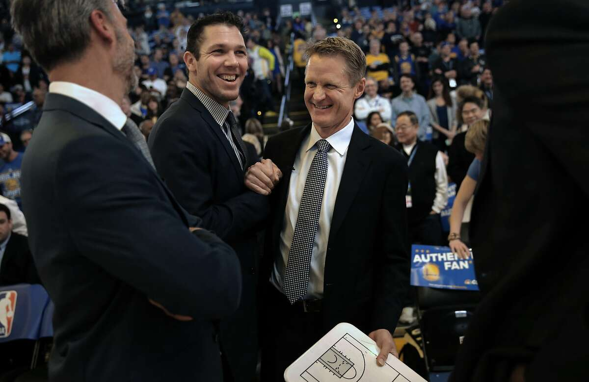Warriors' assistant coach Luke Walton and head coach Steve Kerr get set as the Golden State Warriors take on the Indiana Pacers in NBA action during the first half at Oracle Arena on Fri. January 22, 2016, in Oakland, Calif.