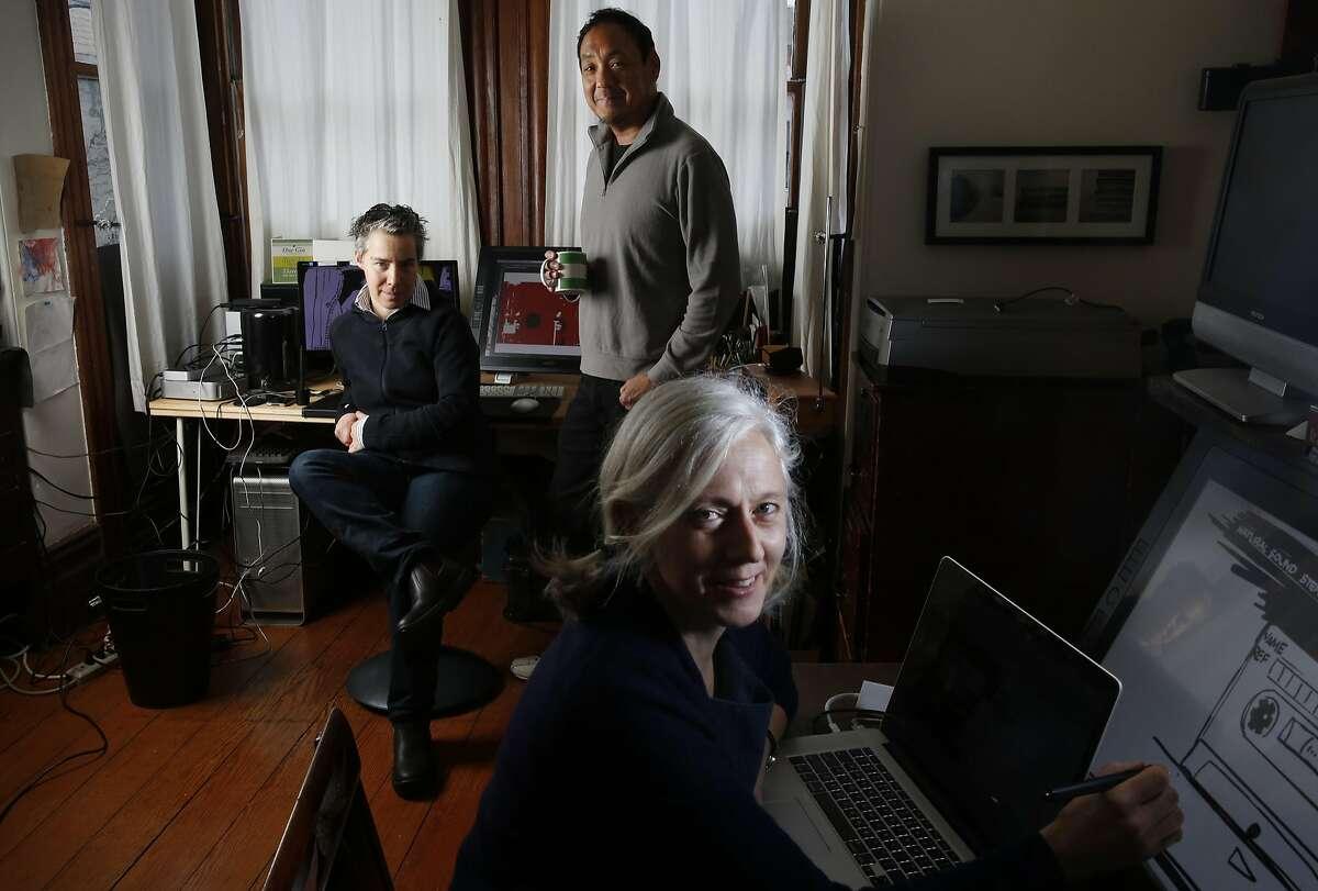 Nomi Talisman, Producer and Director, left, Corey Tong, Executive Producer and Dee Hibbert-Jones, Producer and Director of Last Day of Freedom pictured in their home studio Jan. 22, 2016 in San Francisco, Calif.