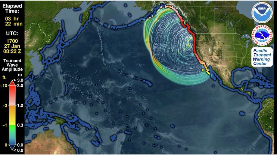 Snapshot of an animation by the Pacific Tsunami Warning Center on Friday, Jan. 22, showing the simulated motion of the waves and as they race around the globe. You can see the distance between successive wave crests (wavelength) as well as their height (half-amplitude) indicated by their color. From the beginning the animation shows all coastlines covered by colored points. These are initially a blue color like the undisturbed ocean to indicate normal sea level, but as the tsunami waves reach them they will change color to represent the height of the waves coming ashore, and often these values are higher than they were in the deeper waters offshore. The color scheme is based on PTWC's warning criteria, with blue-to-green representing no hazard (less than 30 cm or ~1 ft.), yellow-to-orange indicating low hazard with a stay-off-the-beach recommendation (30 to 100 cm or ~1 to 3 ft.), light red-to-bright red indicating significant hazard requiring evacuation (1 to 3 m or ~3 to 10 ft.), and dark red indicating a severe hazard possibly requiring a second-tier evacuation (greater than 3 m or ~10 ft.). Photo: Image, Caption By Pacific Tsunami Warning Center