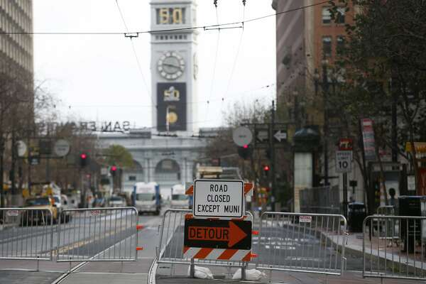 Market Street is closed to traffic from Beale Street to Justin Herman Plaza for the Super Bowl City fan zone in San Francisco, Calif. on Saturday, Jan. 23, 2016. Traffic is sure to be a nightmare while street closures are in effect in the area near the Embarcadero and Market Street west to Beale Street.