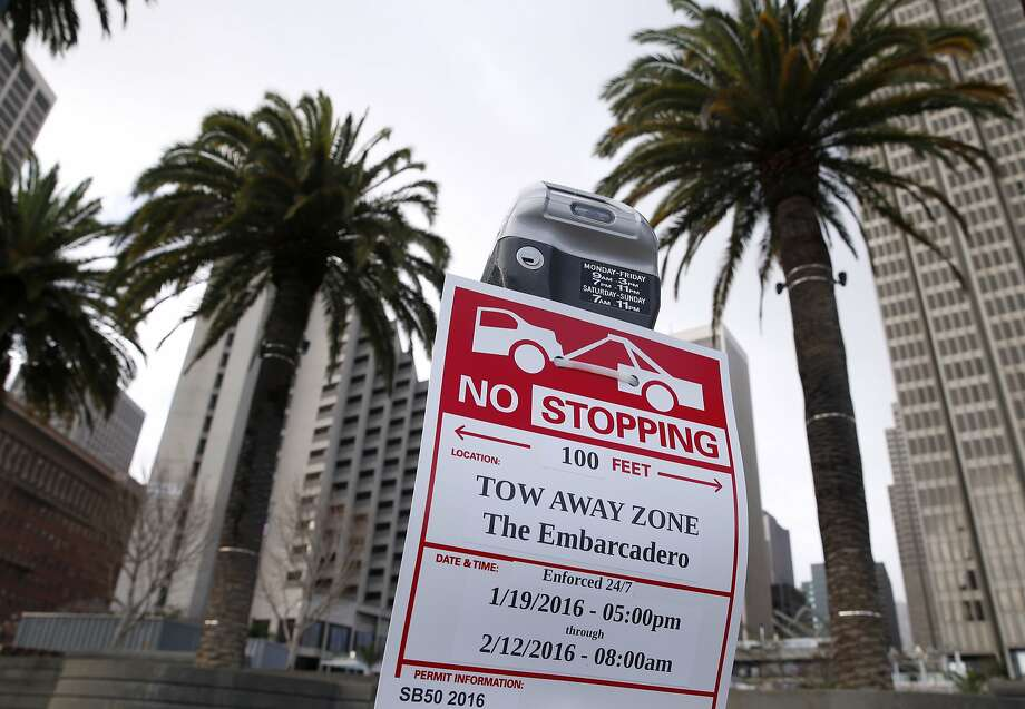 Parking restrictions are in place on the streets surrounding the site of Super Bowl City in San Francisco, Calif. on Saturday, Jan. 23, 2016. Traffic is sure to be a nightmare while street closures are in effect in the area near the Embarcadero and Market Street west to Beale Street. Photo: Paul Chinn, The Chronicle