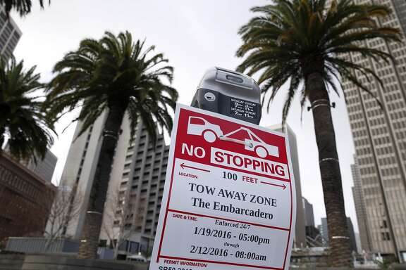 Parking restrictions are in place on the streets surrounding the site of Super Bowl City in San Francisco, Calif. on Saturday, Jan. 23, 2016. Traffic is sure to be a nightmare while street closures are in effect in the area near the Embarcadero and Market Street west to Beale Street.