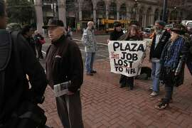 Street artists gather at Justin Herman Plaza, on Sat. January 23, 2016, in San Francisco , Calif., to voice their concerns about being shut out of Superbowl City where they have been selling their wares since 1971.