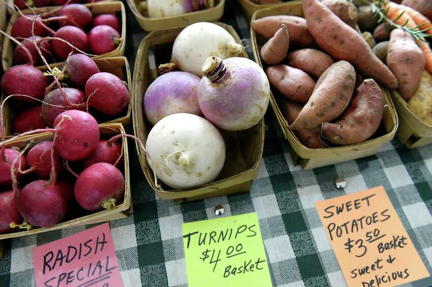 Vegetables for sale at the Pleasant Valley Farm booth during the Saratoga Farmers Market on Saturday, Jan. 23, 2016, at the Lincoln Baths in Saratoga Springs, N.Y. (Cindy Schultz / Times Union)