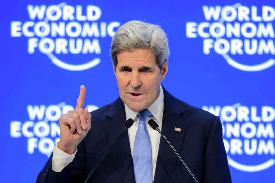 US Secretary of State John Kerry addresses the assembly at the World Economic Forum (WEF) annual meeting in Davos, on January 22, 2016. US Secretary of State John Kerry called Friday for a 30 percent increase in humanitarian funding from the United Nations for refugees. / AFP / FABRICE COFFRINIFABRICE COFFRINI/AFP/Getty Images ORG XMIT: - Photo: FABRICE COFFRINI / AFP or licensors