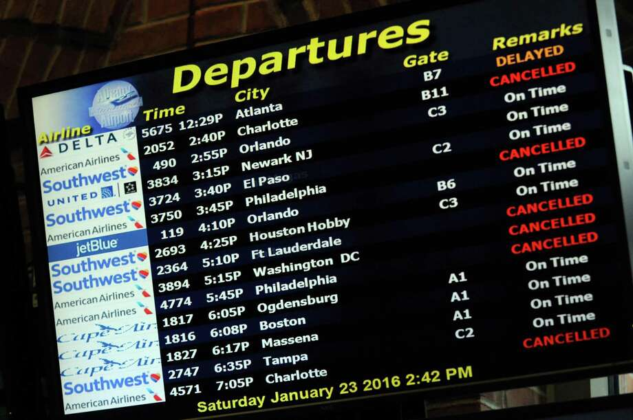 Departures canceled at Albany International Airport on Saturday Jan. 23, 2016 in Colonie, N.Y. (Michael P. Farrell/Times Union) Photo: Michael P. Farrell / 10035114A