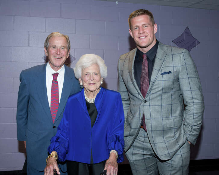 """Former President George W. Bush, Former First Lady Barbara Bush and J.J. Watts at """"A Celebration of Reading"""" at the Hobby Center for Performing Arts"""
