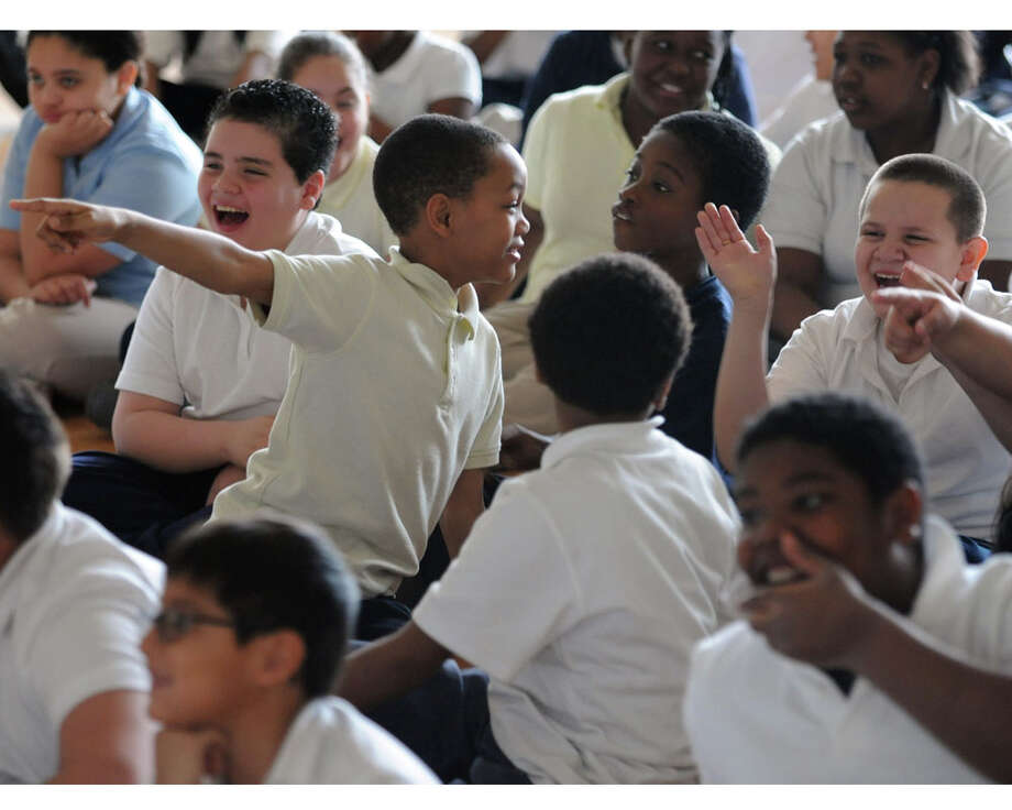 Students attend an assembly at Beardsley School in Bridgeport, Conn. in 2013. Photo: Autumn Driscoll / File Photo / Connecticut Post