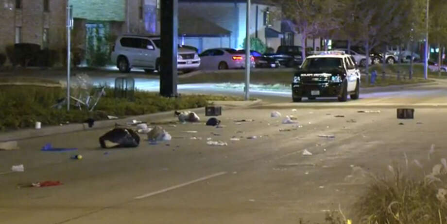 A female pedestrian died Saturday night in a hit-and-run in southwest Houston.  Around 10 p.m., a woman pushing a shopping cart was crossing Bellaire Boulevard at the intersection of Ranchester. She was struck by an unknown vehicle that fled the scene. Photo: Metro Video