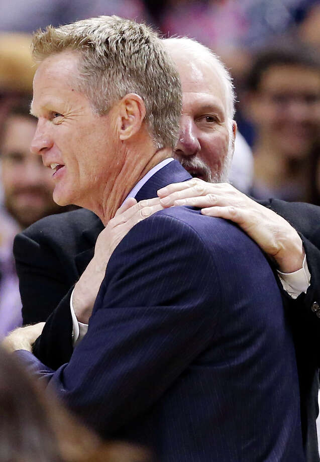 Spurs coach Gregg Popovich will go against Warriors coach Steve Kerr, a former Spur, when their teams play tonight for the first time this season. Many believe one or the other of the teams will be this season's NBA champ. Photo: Edward A. Ornelas /San Antonio Express-News / © 2015 San Antonio Express-News