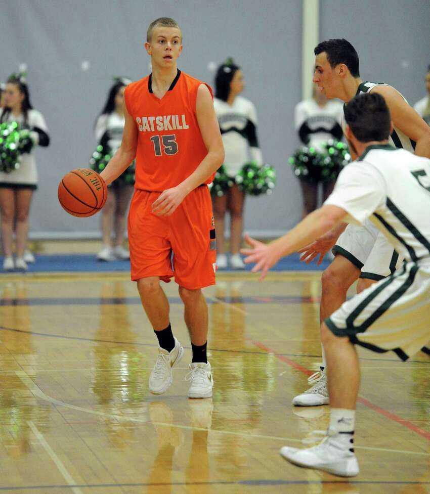 Catskill's Justyn Lacy brings the ball up court during their John F. Kirvin Basketball Tournament final game against Shalmont at Mohonasen High School on Tuesday Dec. 29, 2015 in Rotterdam, N.Y. (Michael P. Farrell/Times Union)