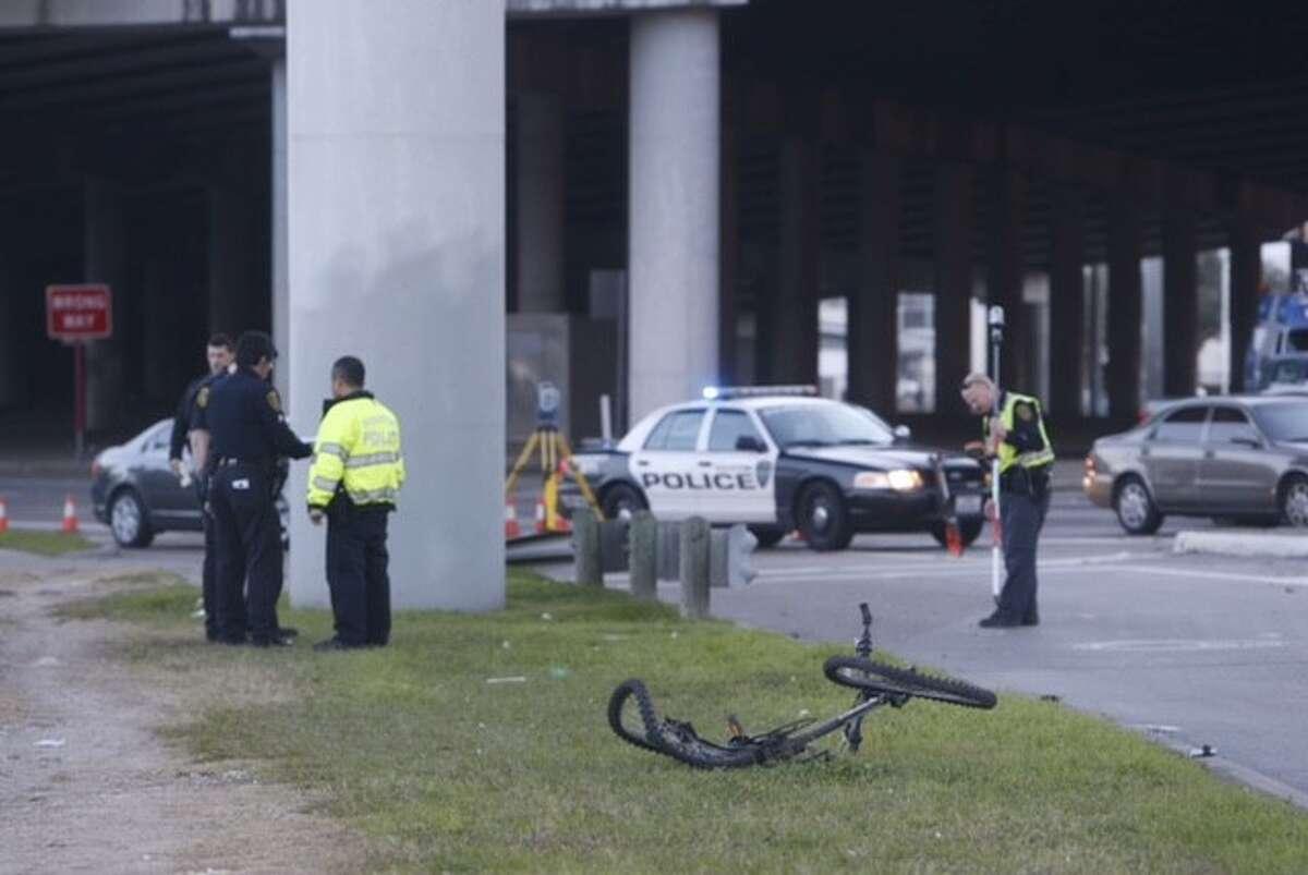 Police investigate a traffic fatality near U.S.59 in southwest Houston, January 25.