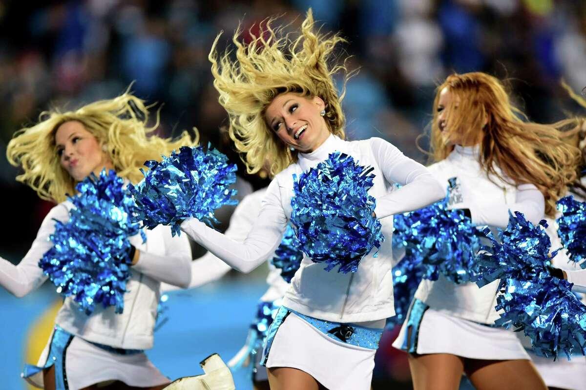 CHARLOTTE, NC - JANUARY 24: Carolina Panthers cheerleaders perform during the NFC Championship Game between the Arizona Cardinals and the Carolina Panthers at Bank of America Stadium on January 24, 2016 in Charlotte, North Carolina.