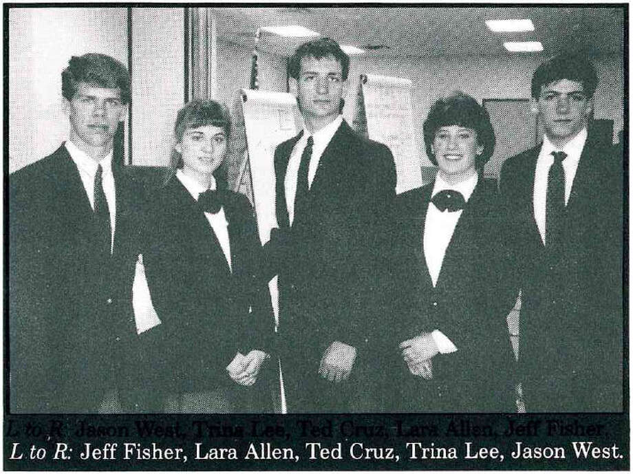 """A 1987 catalog of scholarship winners revealed a 17-year-old Ted Cruz's (center) plan to eventually win the presidency. Here his is pictured with the Constitutional Corroborators, a Houston-based group of students who toured the state reciting the U.S. Constitution from memory. Lara Allen (now Laura Calaway), pictured beside Cruz, described him as """"weirdly focused"""" on his studies but """"awkward"""" with other students."""