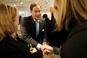 IMAGE DISTRIBUTED FOR MACY'S - Barry Beck, Bluemercury Founder, greets customers at Bluemercury at Macy's Union Square on Wednesday, Jan. 13, 2016 in San Francisco, CA. (Sammy Dallal/AP Images for Macy's)