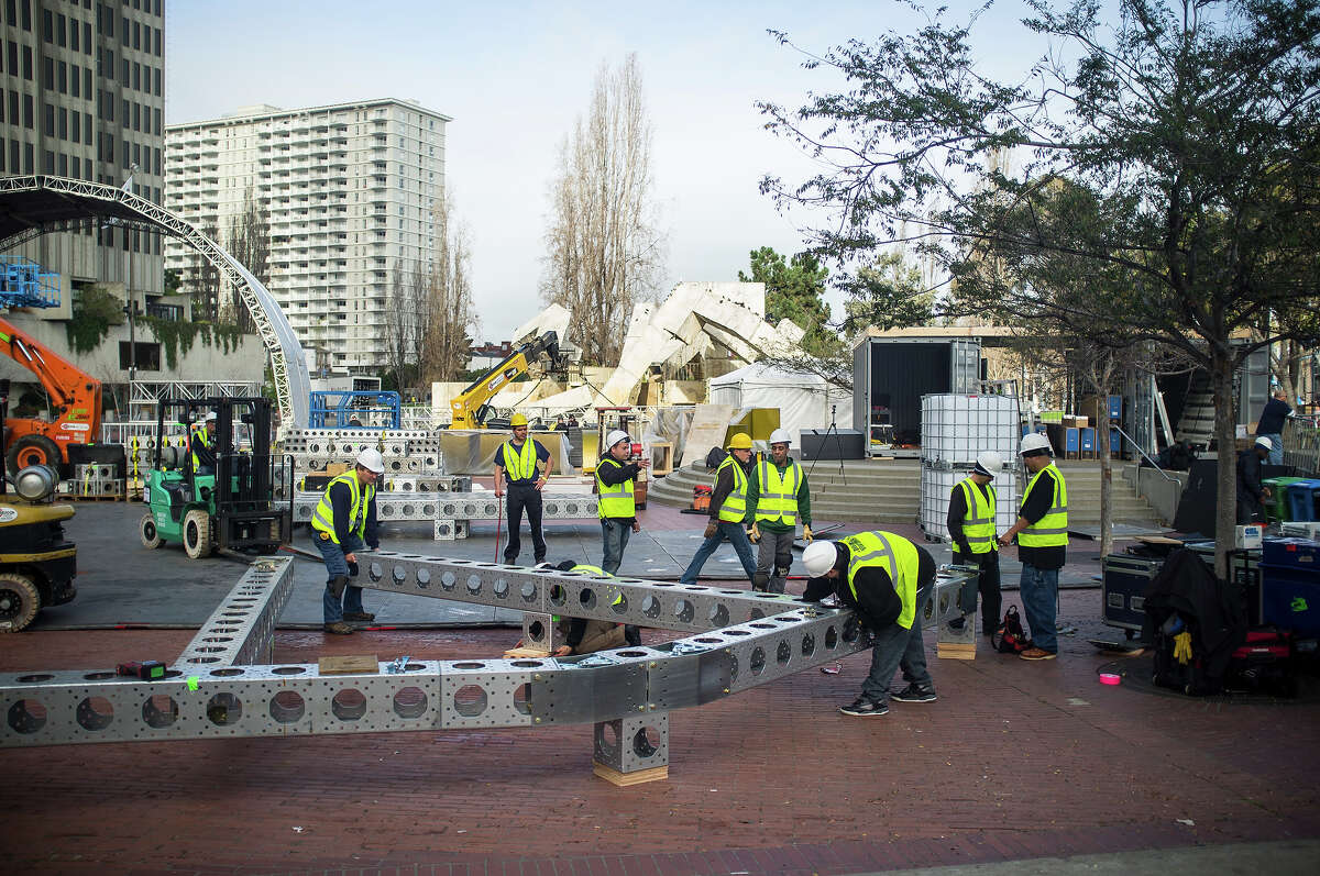 Preparations for Super Bowl 50's Super Bowl City in San Francisco have begun with a partial closure of Market street and set construction along the Embarcadero on Monday, Jan. 25, 2016.