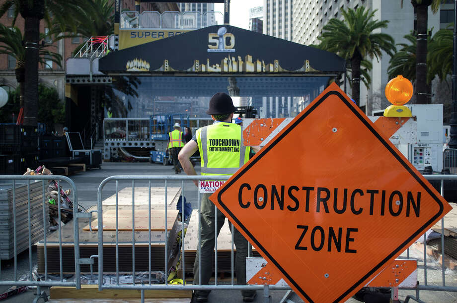 Preparations for Super Bowl 50's Super Bowl City in San Francisco have begun with a partial closure of Market street and set construction along the Embarcadero on Monday, Jan. 25, 2016. Photo: Chris Preovolos/Hearst Newspapers / 2016