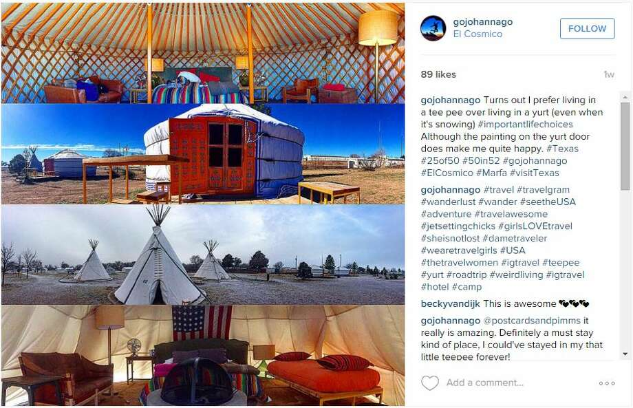 Turns out I prefer living in a tee pee over living in a yurt (even when it's snowing) #importantlifechoices Although the painting on the yurt door does make me quite happy. #Texas #25of50 #50in52 #gojohannago #ElCosmico #Marfa #visitTexas —instagram.com/gojohannago