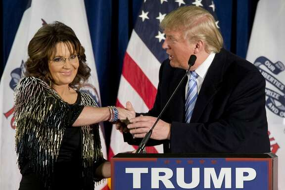 Former Republican vice presidential candidate, and former Alaska Gov. Sarah Palin endorses Republican presidential candidate Donald Trump during a rally at the Iowa State University, Tuesday, Jan. 19, 2016, in Ames, Iowa. (AP Photo/Mary Altaffer)