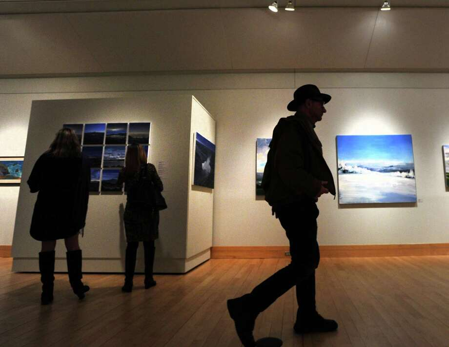 Opening night of the Great American Landscape art exhibition at the Flinn Gallery in Greenwich Library, Conn., Thursday, Dec. 17, 2015. Photo: Bob Luckey Jr. / Hearst Connecticut Media / Greenwich Time