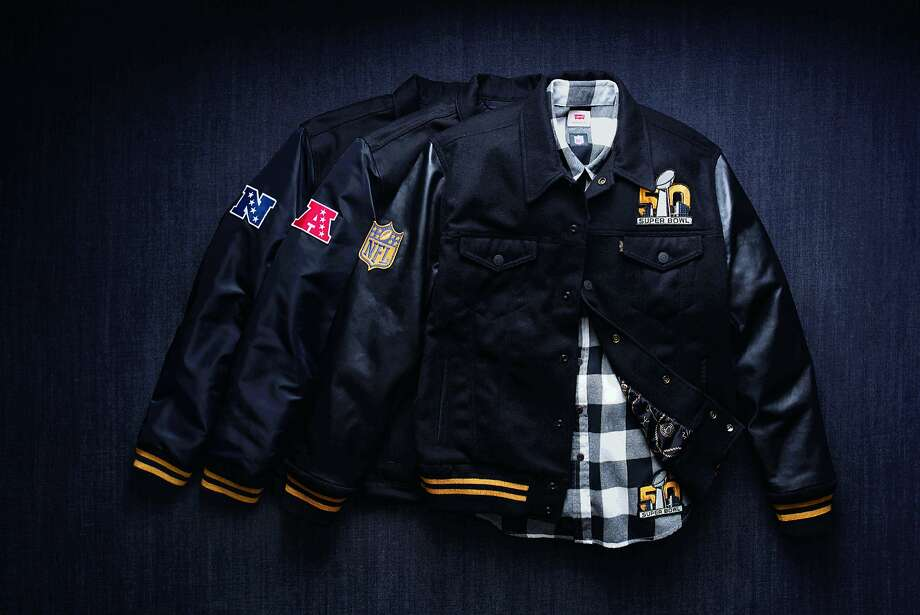 Levi's will launch a Super Bowl 50 collection Jan. 30 at its flagship store, a special pop-up, and www.levi.com. The collection includes a wool varsity jacket, denim jacket and flannel shirt, in NFC & AFC versions all featuring the Super Bowl 50 logo. Photo: Levi's