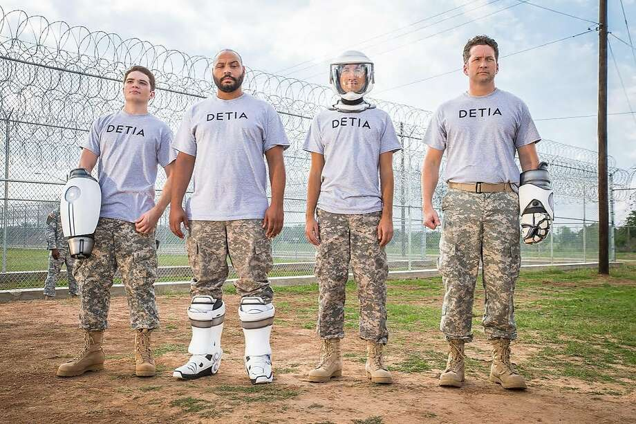 """Michael Jones, Colton Dunn, Gavin Free and Burnie Burns are bumbling nitwits who are expected to save the world in the lackluster """"Lazer Team."""" Photo: Courtesy Of Rooster Teeth, Cohen Media Group"""