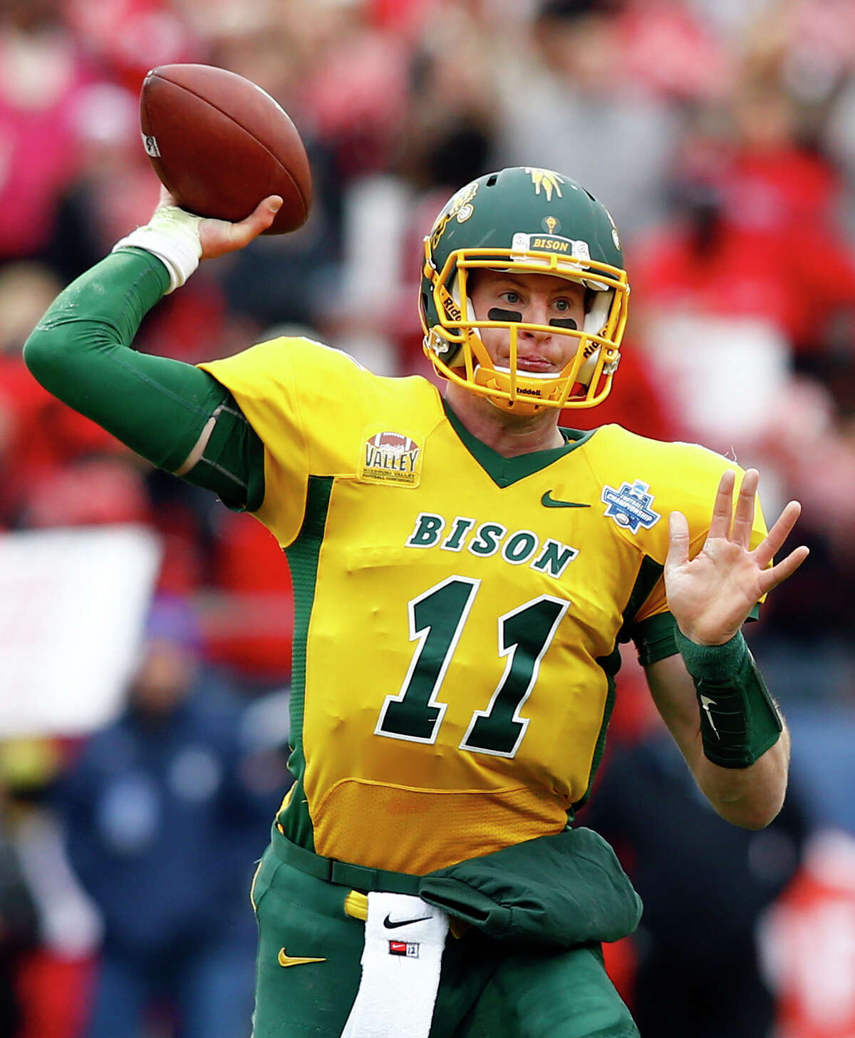 Carson Wentz, North Dakota State  Height/weight: 6-5, 237 40-yard dash: 4.65 He has the size, arm, athleticism and intelligence that scouts love, but he played against FCS competition. He took snaps under center as well as from the shotgun. He started for two championship teams, including last season when he returned from a broken wrist. Impressive in the Senior Bowl, combine and pro day. Could go first overall.