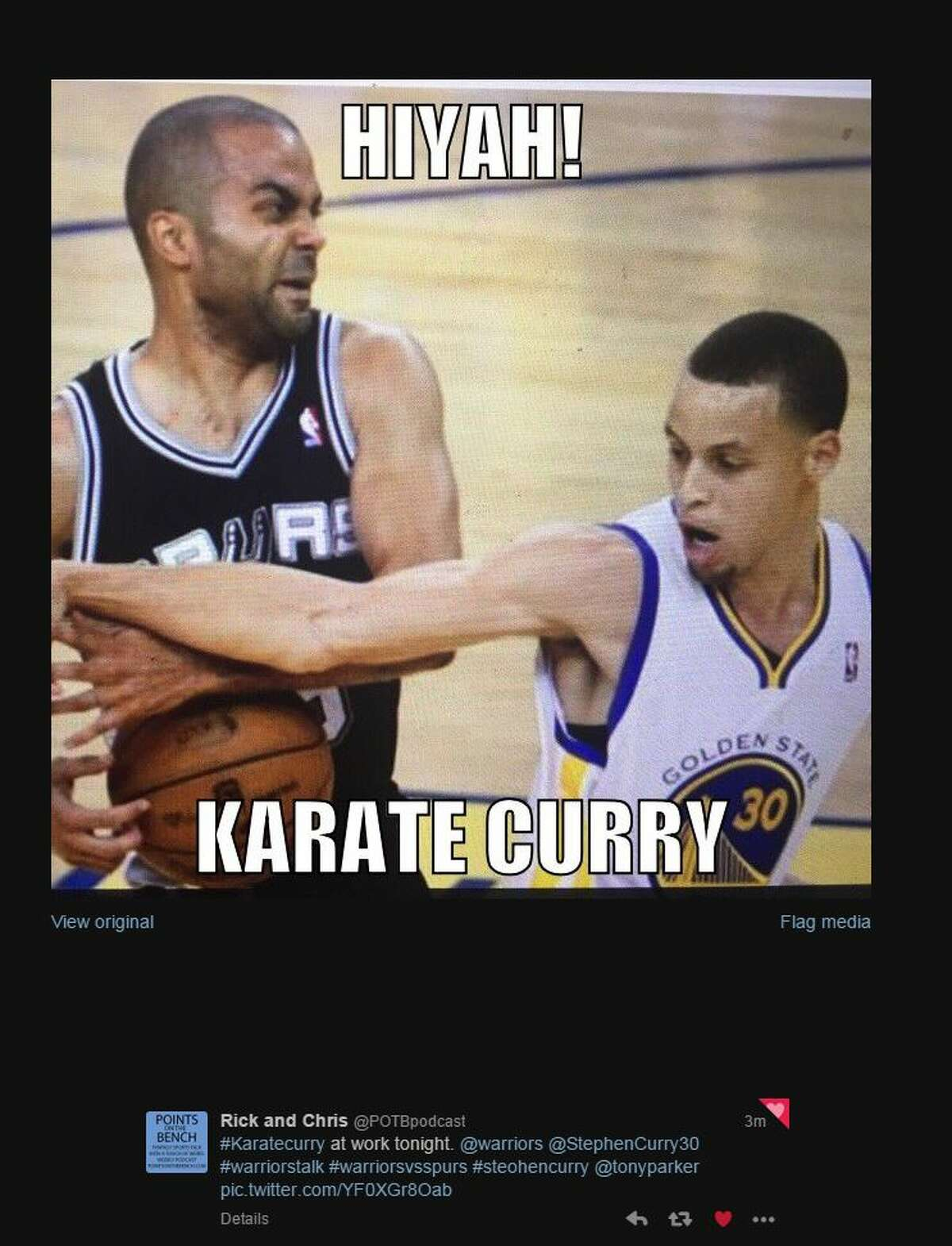 @POTBpodcast #Karatecurry at work tonight. @warriors @stephencurry30 @tonyparker