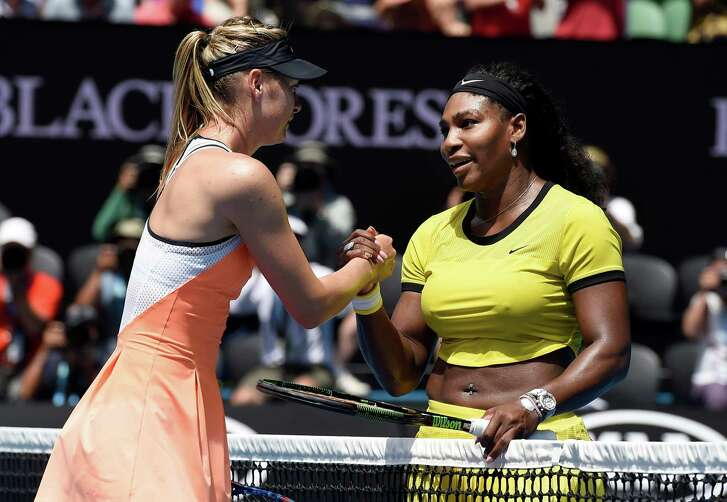 In a familiar scene, Maria Sharapova, left, congratulates Serena Williams, right, on her win. Sharapova has lost their last 18 matches.