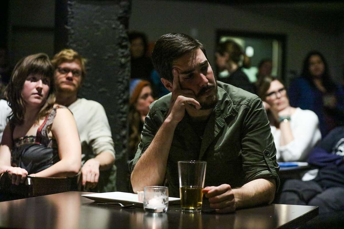 Kyle McReddie acts out a scene in The Morrissey Plays, as the audience watches, at PianoFight in San Francisco, California on Monday, January 25, 2016.
