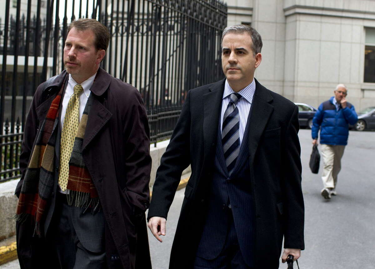 Anthony Chiasson, right, the former managing partner of now-closed Level Global Investors LP in Greenwich, in October 2012.