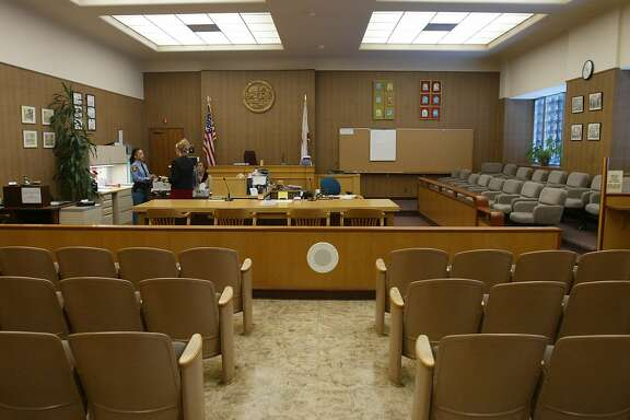 Court room 2M, 150 seats in the San Mateo County Superior Court is where Scott Peterson trail will be held just across the street from his one room jail cell at the Maguire Correctional Facility in Redwood City.   Officials expect about 200 reporters, photographers and producers will cover the high-profile trial, scheduled to rev up with pretrial hearings Feb. 2 City:Ê 	1/26/04, in Redwood City, CA.   Frederic Larson/The Chronicle;