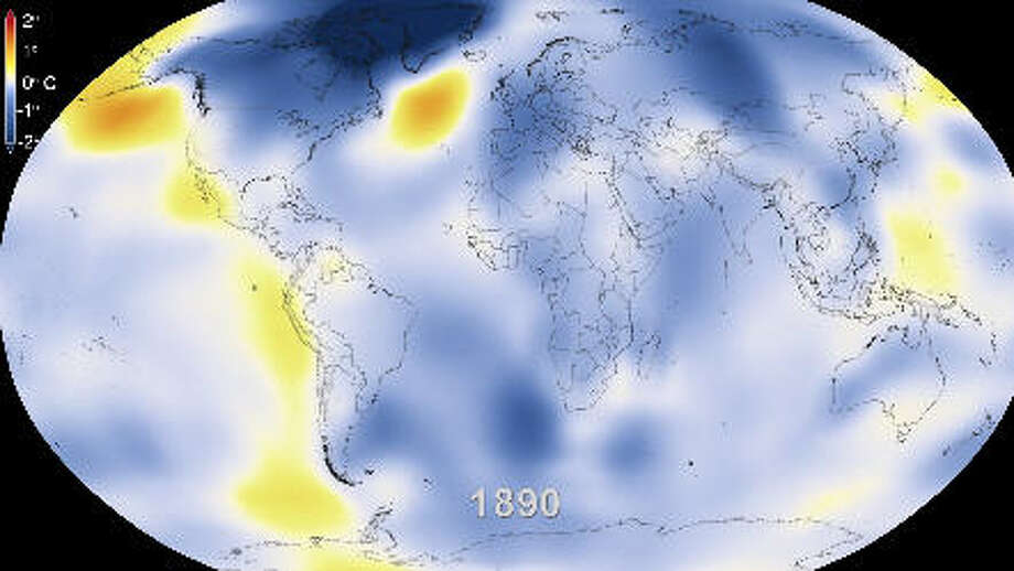 1890: NASA has produced a 30-second video showing global warming between 1880 and 2013. (NASA Goddard Space Flight Center Scientific Visualization Studio)