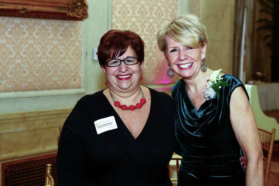 Linda Hillman, right, past president of the Rensselaer County Regional Chamber of Commerce, with Jo Ann Le Sage Nelson of Pierce Communications at Hillman's chamber farewell party in January 2016. Hillman has been named executive advisor at Pierce. Photo: Denis J. Nally Photography