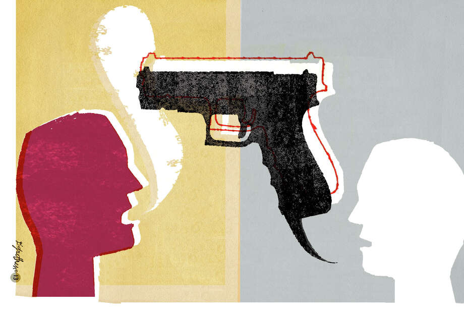 This artwork by Donna Grethen relates to the continuing controversy over guns in the United States. Photo: Donna Grethen