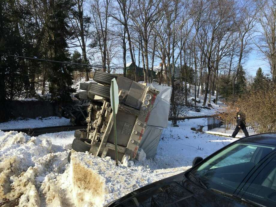 A tractor-trailer overturned on Nashville Road in Bethel on Monday. Photo: Contributed / Bethel Police Department