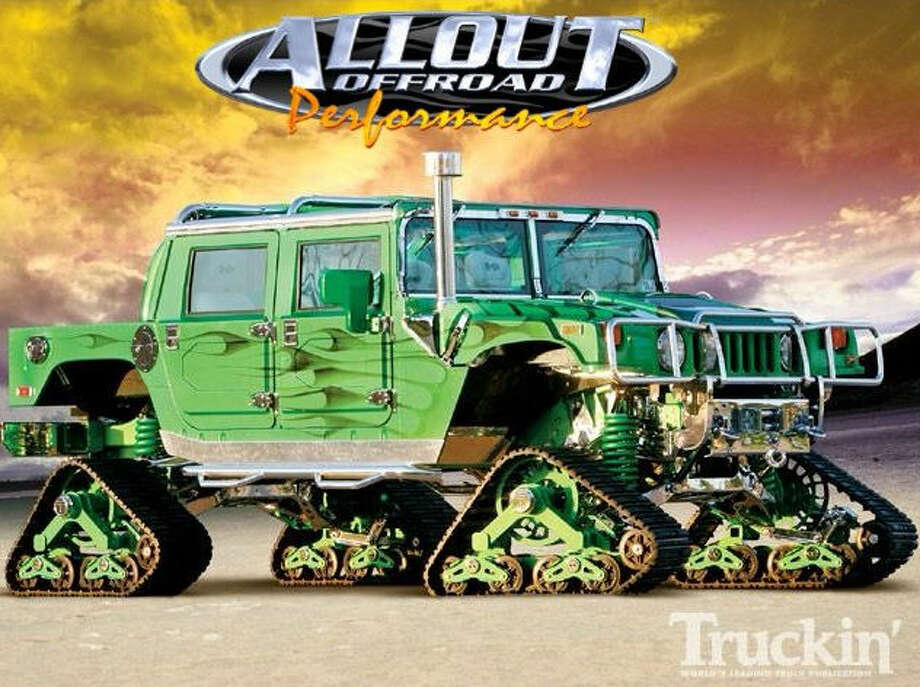 The Hummer comes with custom mattracks not unlike what would be found on a heavy–duty military vehicle.