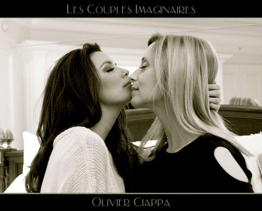 "Eva Longoria posed with singer Lara Fabian in this seductive photo as part of a photo series aimed at showing that ""love is love,"" regardless of sexual orientation. Photo: Olivier Ciappa"