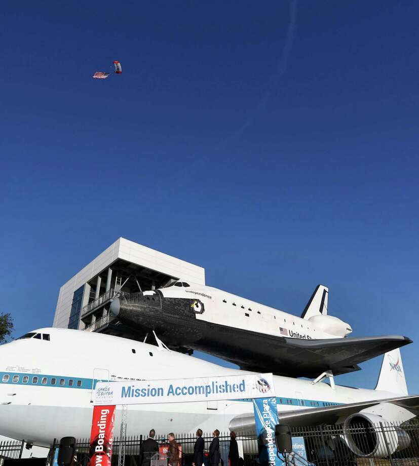 "Space Center Houston's new Independence Plaza exhibit, featuring a space shuttle replica atop a Boeing 747, has been described as ""world class"" by retired NASA pilot Frank Marlow, who flew space shuttle carriers. Photo: Steve Gonzales / © 2016 Houston Chronicle"
