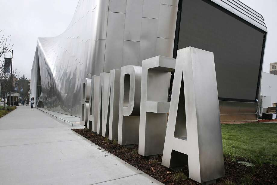 The public outdoor screen is visible from Oxford and Addison streets at the new location of the Berkeley Art Museum and Pacific Film Archive in Berkeley, Calif. on Tuesday, Jan. 26, 2016. BAMPFA reopens to the public on Sunday. Photo: Paul Chinn, The Chronicle