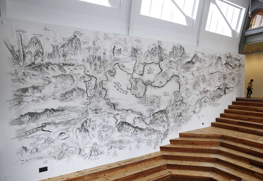 A giant mural sketched by Chinese artist Qiu Zhijie dominates the Crane Forum inside the main entrance of the new Berkeley Art Museum and Pacific Film Archive in Berkeley, Calif. on Tuesday, Jan. 26, 2016. BAMPFA reopens to the public on Sunday. Photo: Paul Chinn, The Chronicle