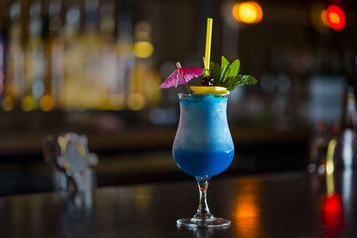Behold the Blue Hawaiian, a blend of white rum, coconut, pineapple, blue curacao and lemon.