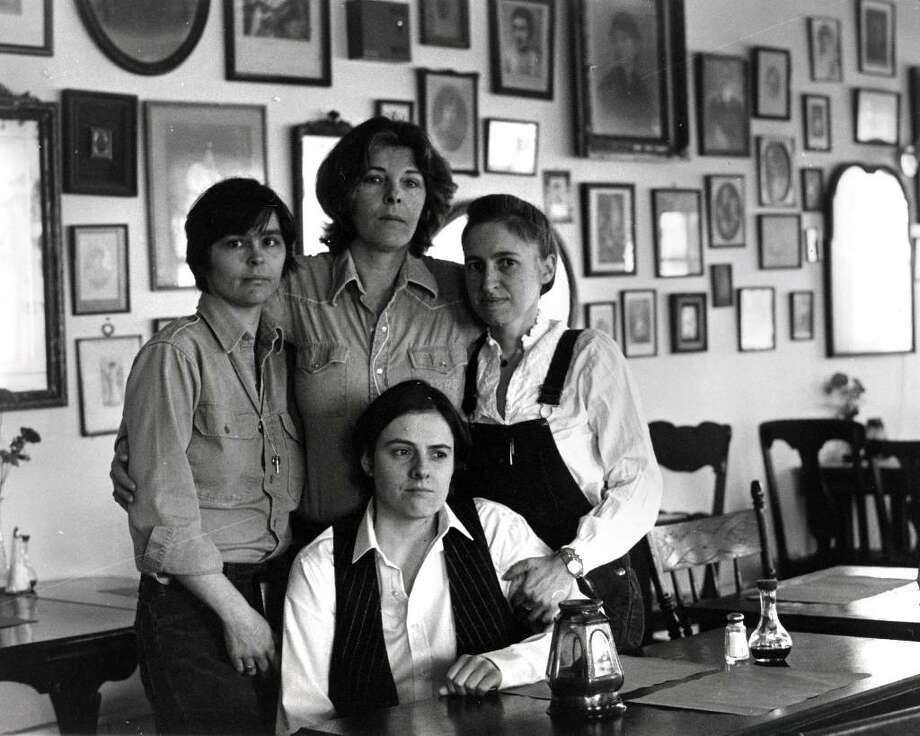 Members of the Bloodroot Collective, circa 1978. From left to right --  Noel Furie, Pat Shea, Selma Miriam; sitting - Betsy Bevan.  Noel Furie, photographer, from the records of the Bloodroot Collective. Photo: Contributed Photo / Connecticut Post Contributed